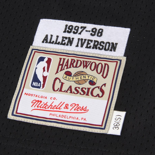 6f9a20b3b16 ... Mens Philadelphia 76ers Allen Iverson Mitchell & Ness Black Authentic  Basketball Jersey