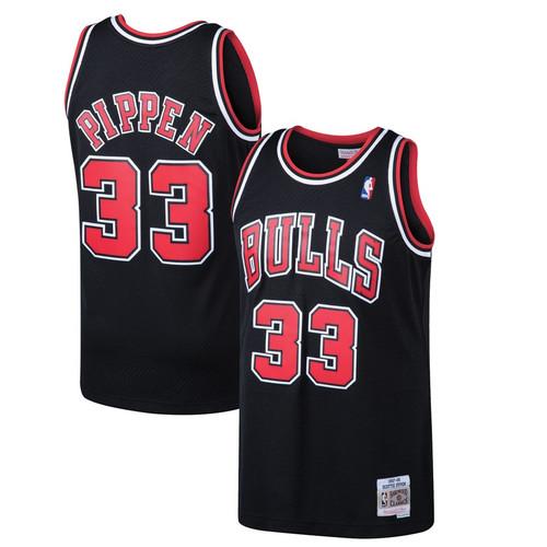 93cb19d92 NBA Chicago Bulls Scottie Pippen Mitchell   Ness Black 1997-98 Hardwood  Classics Swingman Jersey ...