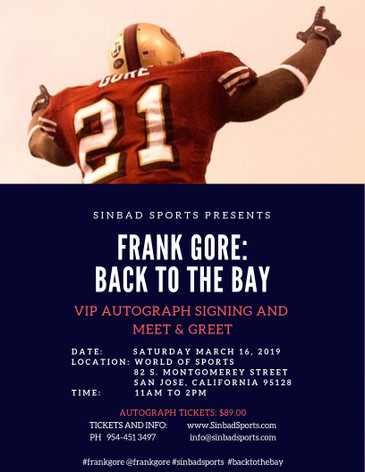 1a11eab33 FRANK GORE  BACK TO THE BAY VIP AUTOGRAPH SIGNING IN SANTA JOSE CALIFORNIA  HOSTED BY