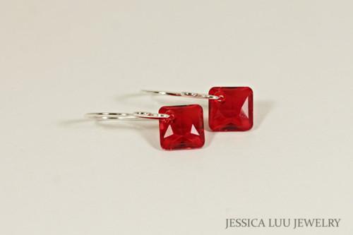 Sterling silver light siam red crystal princess cut dangle earrings handmade by Jessica Luu Jewelry