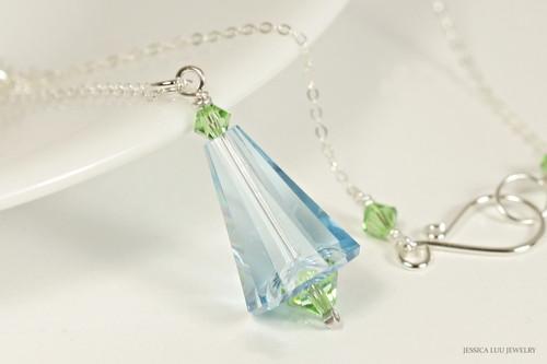 Sterling silver aquamarine peridot blue green Swarovski crystal pendant on chain necklace handmade by Jessica Luu Jewelry