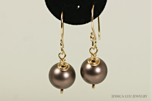 Gold Brown Pearl Earrings - Available with Matching Necklace