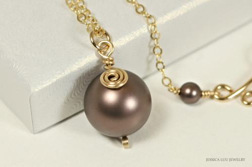 14K yellow gold filled wire wrapped velvet brown Swarovski pearl solitaire pendant on chain necklace handmade by Jessica Luu Jewelry
