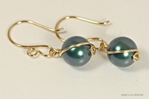 14K yellow gold filled wire wrapped iridescent Tahitian Swarovski pearl dangle earrings handmade  by Jessica Luu Jewelry