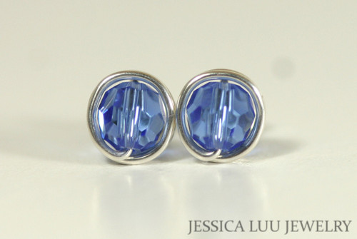 Sterling Silver Sapphire Swarovski Crystal Stud Earrings - Available in 2 Sizes and Other Metal Options