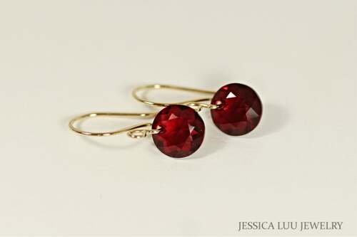 Gold Garnet Red Crystal Dangle Earrings - Other Metal Options Available