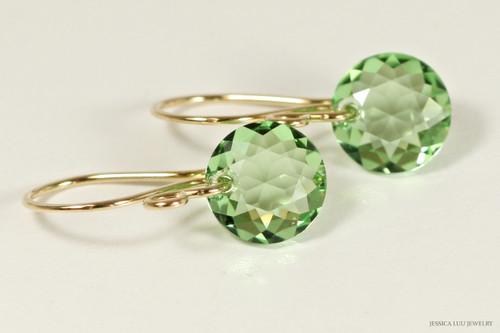 14K yellow gold filled light green peridot Swarovski crystal classic cut pendant dangle earrings