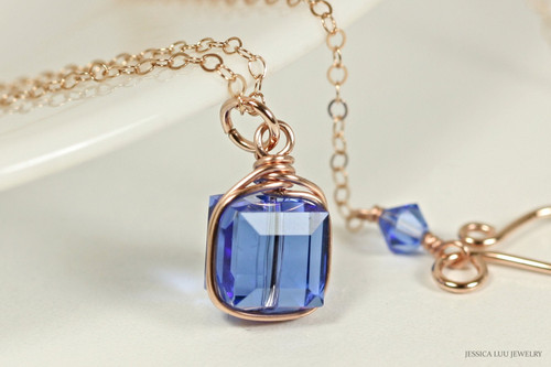 14K rose gold filled wire wrapped sapphire blue Swarovski crystal cube pendant on chain necklace handmade by Jessica Luu Jewelry
