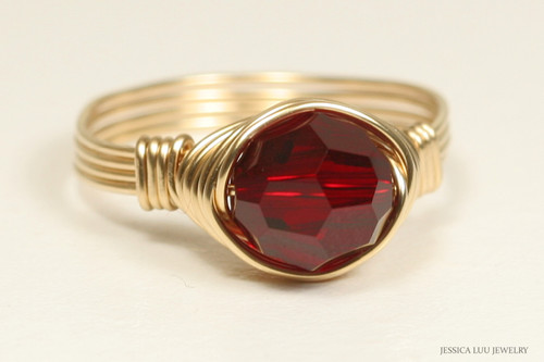 14K yellow gold filled wire wrapped garnet red siam crystal solitaire ring handmade by Jessica Luu Jewelry