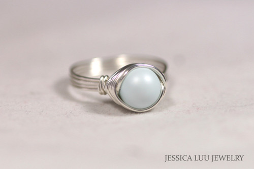 Sterling Silver Pastel Blue Pearl Ring - Other Metal Options Available