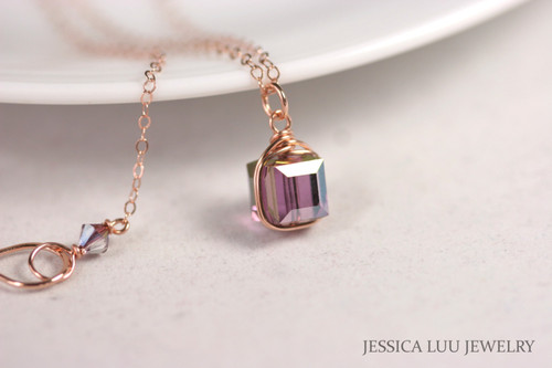 Rose Gold Purple Swarovski Crystal Necklace - Available with Matching Earrings and Other Metal Options