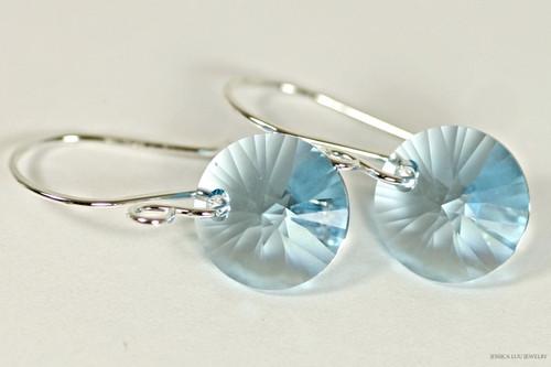Sterling silver aquamarine blue crystal rivoli dangle earrings handmade by Jessica Luu Jewelry