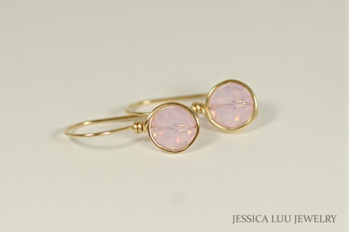 Gold Light Pink Swarovski Crystal Earrings - Other Metal Options Available
