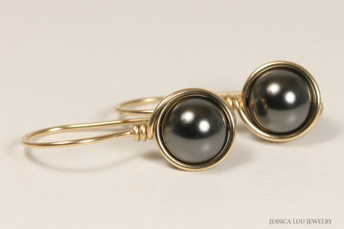 14K yellow gold filled wire wrapped black pearl drop earrings handmade by Jessica Luu Jewelry