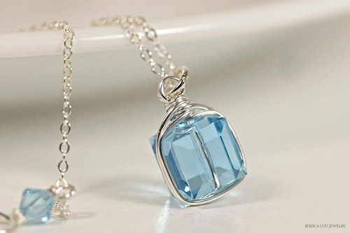 Sterling Silver wire wrapped aquamarine blue Swarovski crystal cube pendant on chain necklace handmade by Jessica Luu Jewelry