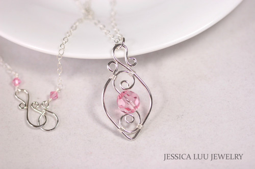 Sterling Silver Pink Swarovski Crystal Necklace - Available with Matching Earrings