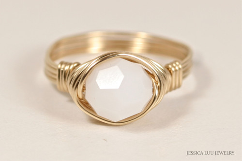 14K yellow gold filled wire wrapped white alabaster Swarovski crystal solitaire ring handmade by Jessica Luu Jewelry
