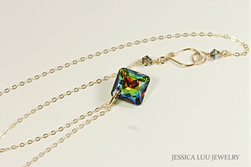 Gold Multicolored Crystal Necklace - Available with Matching Earrings