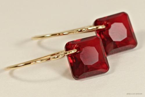 14K yellow gold filled garnet red siam crystal princess cut dangle earrings handmade by Jessica Luu Jewelry