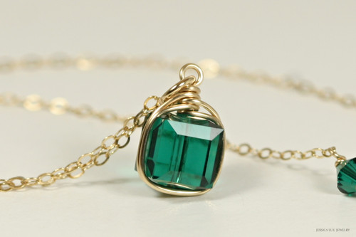 14K yellow gold filled wire wrapped emerald green crystal cube pendant on chain necklace handmade by Jessica Luu Jewelry