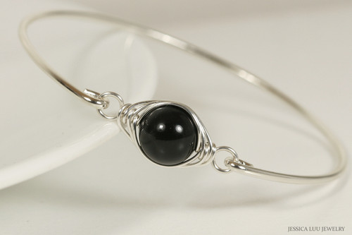 Sterling Silver Mystic Black Pearl Bangle Bracelet - Other Metal Options Available