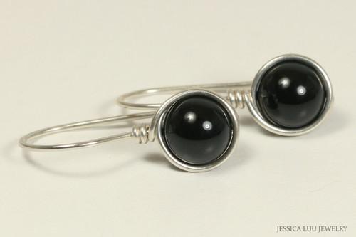 Sterling silver wire wrapped mystic black Swarovski pearl drop earrings handmade by Jessica Luu Jewelry