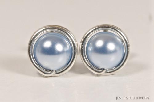 Sterling silver wire wrapped light blue pearl stud earrings handmade by Jessica Luu Jewelry
