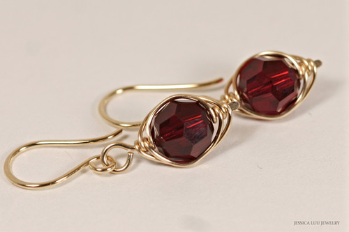 14K yellow gold filled wire wrapped dark red garnet siam crystal dangle earrings handmade by Jessica Luu Jewelry