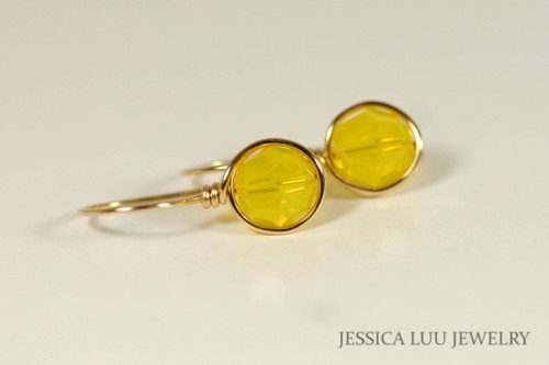 14K yellow gold filled wire wrapped yellow opal Swarovski crystal drop earrings handmade by Jessica Luu Jewelry
