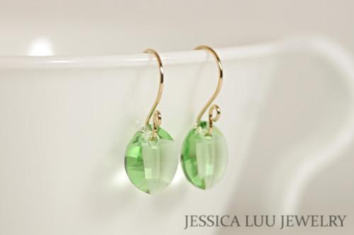 14K yellow gold filled peridot green crystal leaf pendant dangle earrings handmade by Jessica Luu Jewelry