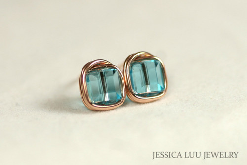 Rose Gold Light Turquoise Swarovski Crystal Stud Earrings - Available with Matching Necklace and Other Metal Options