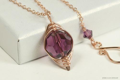 14K rose gold filled herringbone wire wrapped amethyst purple Swarovski crystal pendant on chain handmade by Jessica Luu Jewelry