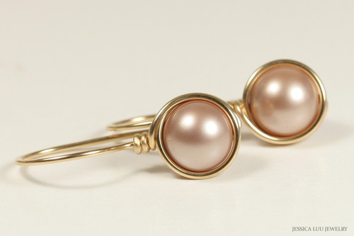 14K yellow gold filled wire wrapped beige powder almond pearl drop earrings handmade by Jessica Luu Jewelry