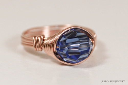 14k rose gold filled wire wrapped sapphire blue Swarovski crystal solitaire ring handmade by Jessica Luu Jewelry