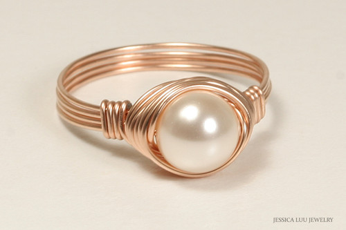 14K rose gold filled wire wrapped ivory creamrose pearl solitaire ring handmade by Jessica Luu Jewelry