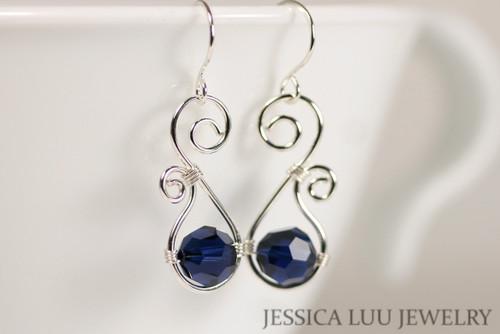 Sterling silver wire wrapped dark indigo navy blue Swarovski crystal dangle earrings handmade by Jessica Luu Jewelry