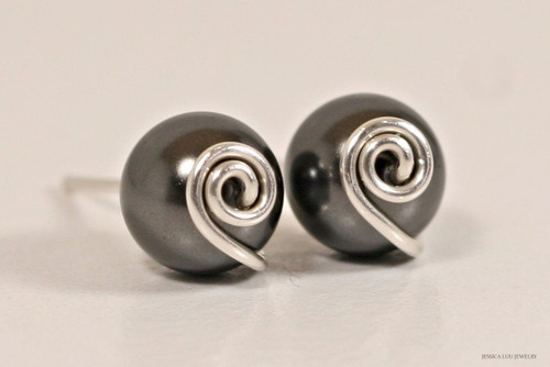 Sterling silver wire wrapped black Swarovski pearl stud earrings handmade by Jessica Luu Jewelry
