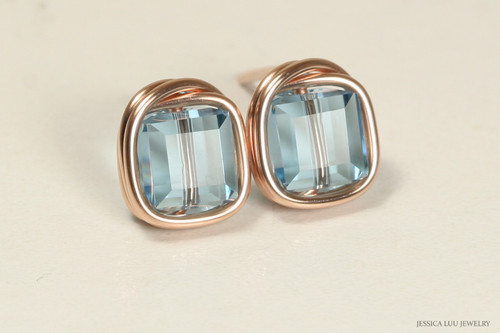 14K rose gold filled wire wrapped aquamarine blue Swarovski crystal cube square stud earrings handmade by Jessica Luu Jewelry