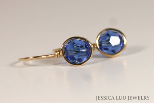 Gold Sapphire Blue Swarovski Crystal Earrings - More Metal Options Available