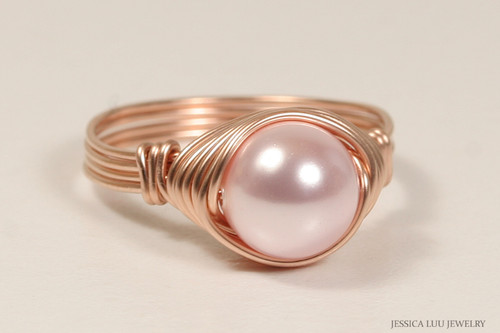 14K rose gold filled wire wrapped light pink rosaline Swarovski pearl solitaire ring handmade by Jessica Luu Jewelry