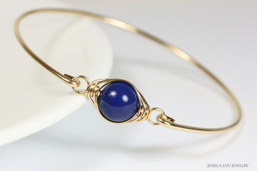 14k gold filled wire wrapped bangle bracelet with dark lapis nacre pearl