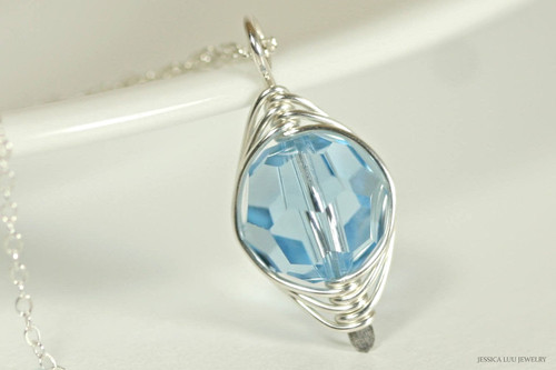 Sterling silver herringbone wire wrapped aquamarine blue Swarovski crystal pendant on chain necklace handmade by Jessica Luu Jewelry