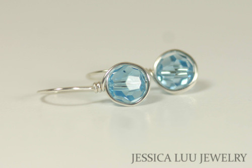 Sterling Silver Aquamarine Swarovski Crystal Earrings - Available with Matching Necklace and Other Metal Options