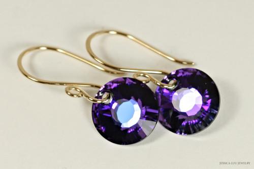 14K yellow gold filled earrings with purple heliotrope crystal sun pendants handmade by Jessica Luu Jewelry