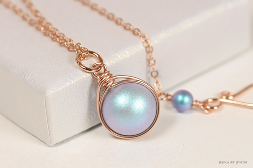 14k rose gold filled wire wrapped iridescent light blue Swarovski pearl solitaire pendant on chain necklace handmade by Jessica Luu Jewelry