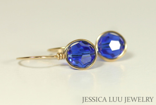 14K yellow gold filled wire wrapped cobalt majestic blue crystal drop earrings handmade by Jessica Luu Jewelry