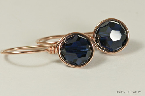 14K rose gold filled wire wrapped dark indigo blue Swarovski crystal drop earrings handmade by Jessica Luu Jewelry