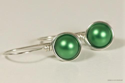 Sterling silver wire wrapped eden green pearl drop earrings handmade by Jessica Luu Jewelry