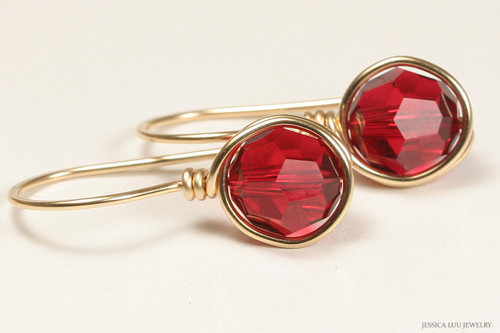 14K yellow gold filled wire wrapped ruby red scarlet Swarovski crystal drop earrings handmade  by Jessica Luu Jewelry