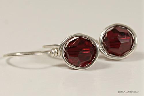 Sterling silver wire wrapped dark red garnet siam crystal drop earrings handmade by Jessica Luu Jewelry